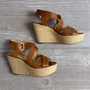 Michael Kors Wedge Brown Giovanna Leather Sandals